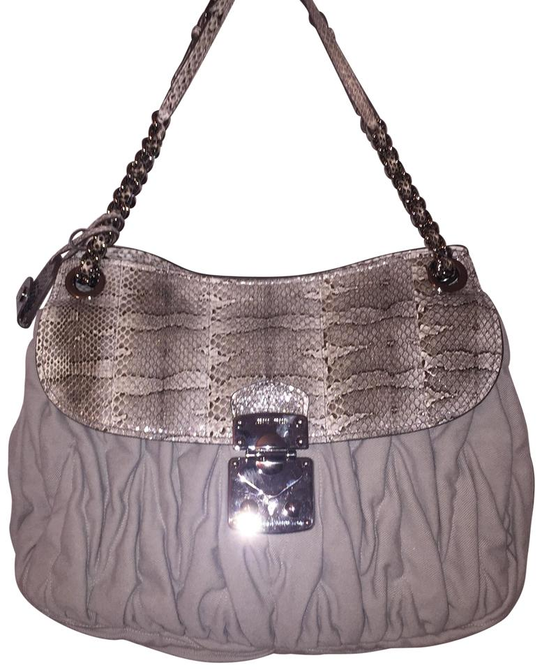 4c8bf50ec7 Miu Miu Oversized Glazed Gray Python   Cotton Denim Shoulder Bag ...
