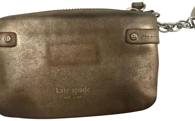 Item - Coin Pouch with Keychain Brushed Gold Leather Wristlet
