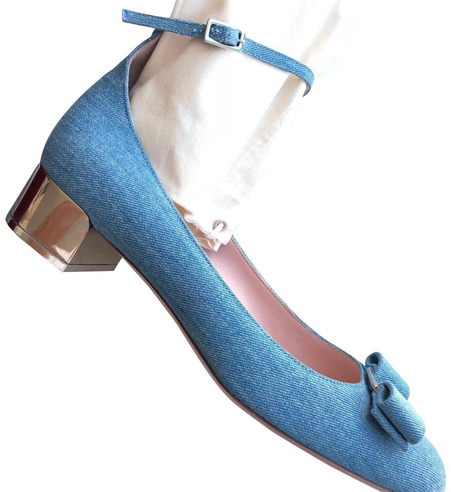 Salvatore Fabric Ferragamo Denim Feluna Blue Fabric Salvatore Per Suede Calf Pumps b2ee24
