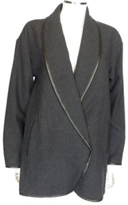 CRIPPEN Charcoal Gray with Faux Black Leather piping Jacket
