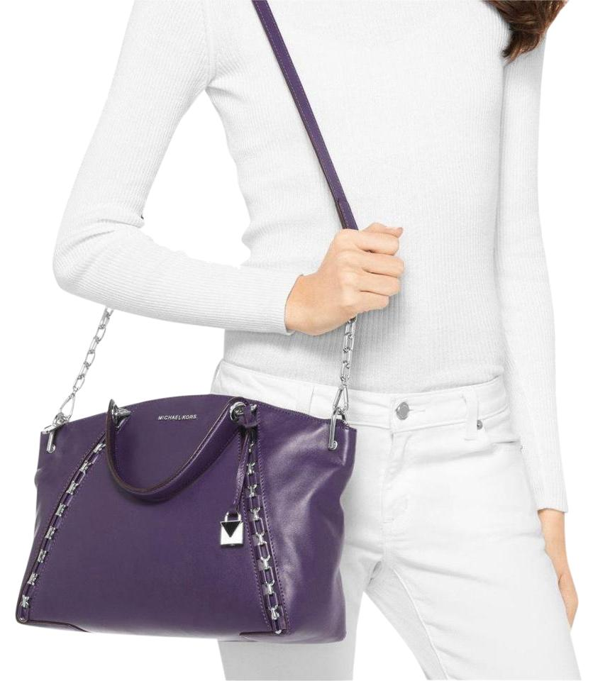 905bdf261523 Michael Kors Sadie Large Tz Top Zip Iris Leather Satchel - Tradesy