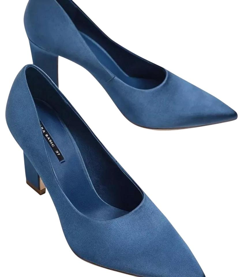 0fceb94f9e0 Zara Blue Satin High Heel Pumps Size US 8 Regular (M