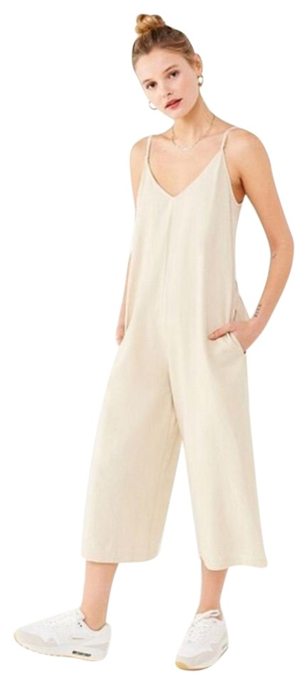 dbb70980c2a Urban Outfitters Cream Tan Uo Linen Plunge Back Romper Jumpsuit ...