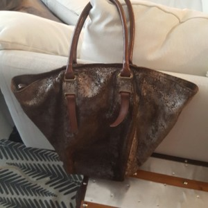 Holding Horses Tote in Brown and silver
