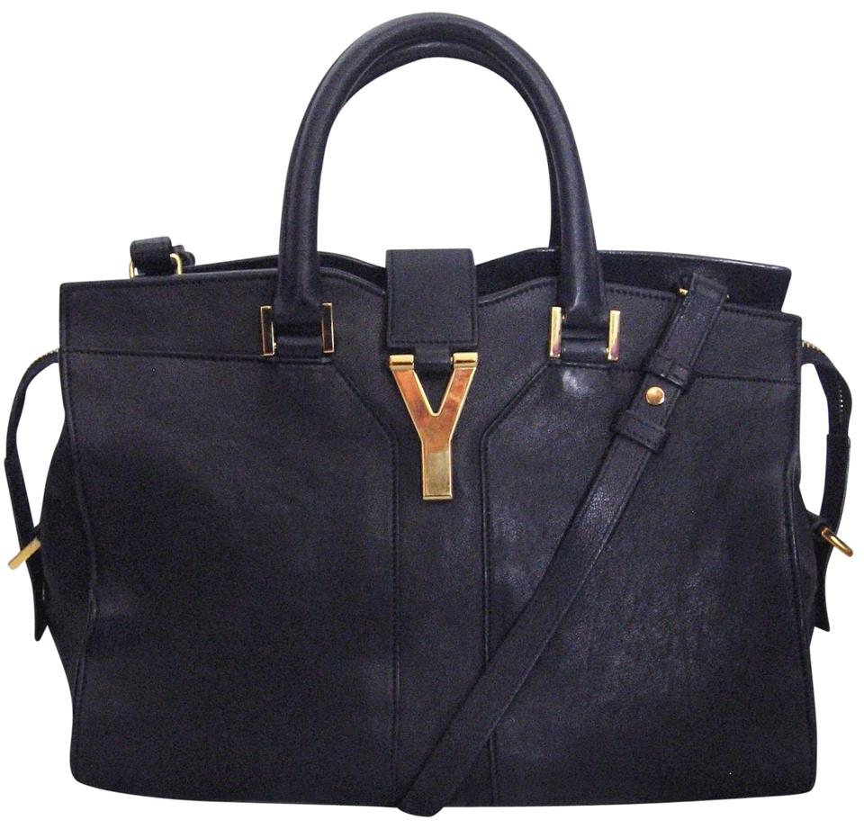 1049fa5c Saint Laurent Y Cabas ChYc Ysl Y-ligne Mini Dark Blue Leather Satchel 58%  off retail