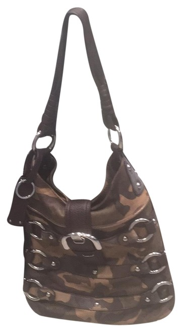 Item - Shoulder Green Camo with Brown Leather Hobo Bag