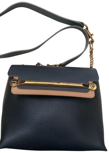 Item - Crossbody Clare Color Block Navy and Taupe Leather Shoulder Bag