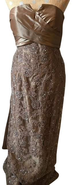 Item - Dark Taupe Strapless Silk Train Lace Crystals Shawl Long Formal Dress Size 8 (M)
