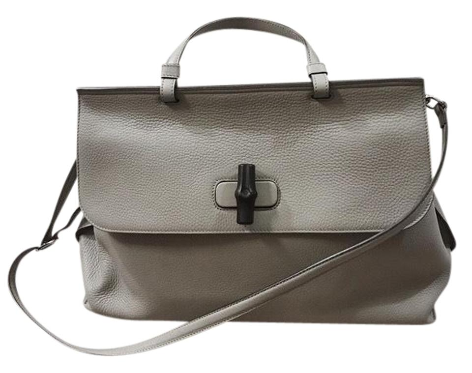 9e82d78b2807 Gucci Large Fold-over Dove Grey Bamboo Daily Tote Gry Leather Satchel