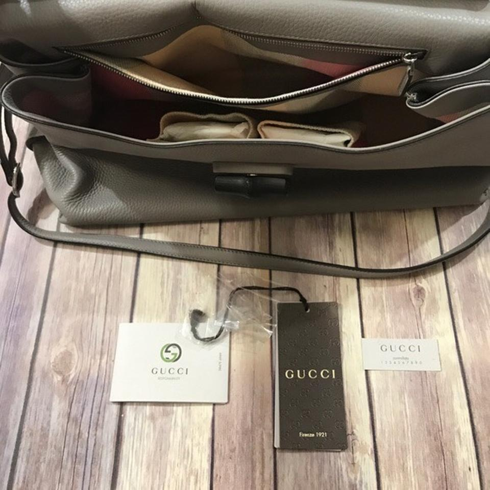 1f05622128bf Gucci Large Fold-over Dove Grey Bamboo Daily Tote Gry Leather ...