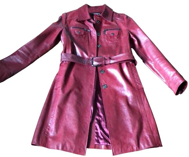 Item - Burgundy Red Leather Coat Size 10 (M)