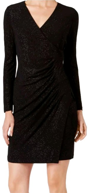 Item - Black Lined Gown Sparkle Glitter Sheath Cocktail Casual Short Night Out Dress Size Petite 0 (XXS)