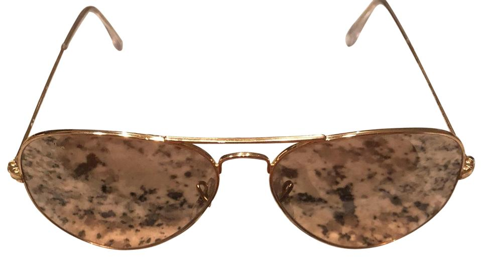Ray-Ban Gold Frame- Silver/Pink Mirror Lenses Aviator Sunglasses ...