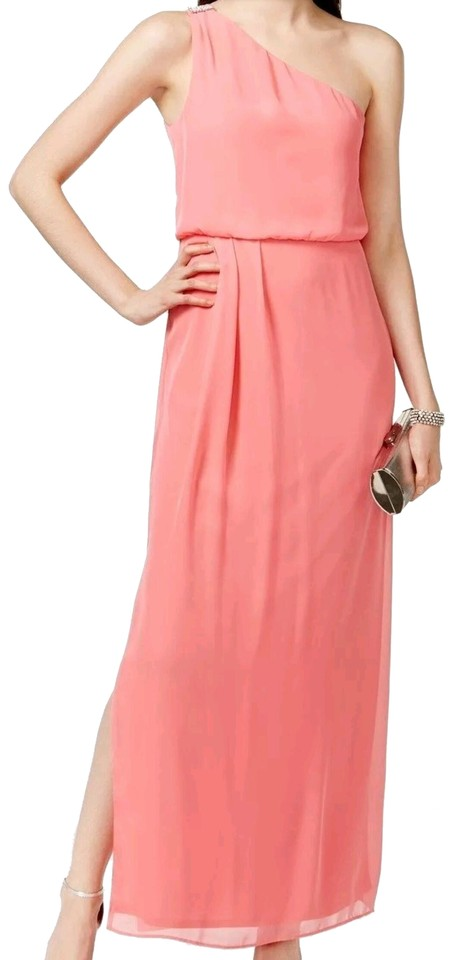 Adrianna Papell Pink Coral Salmon Blouson Gown Bridesmaid Formal ...
