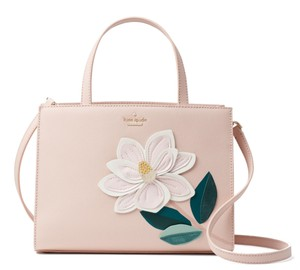 Kate Spade Swamped Magnolia Crosshatched Leather Shoulder Satchel in Soft Pink Multi