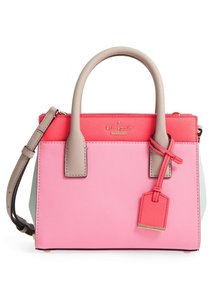 Kate Spade Mini Candace Cameron Street Crosshatched Leather Style # Pxru6669 Satchel in Eraser Pink