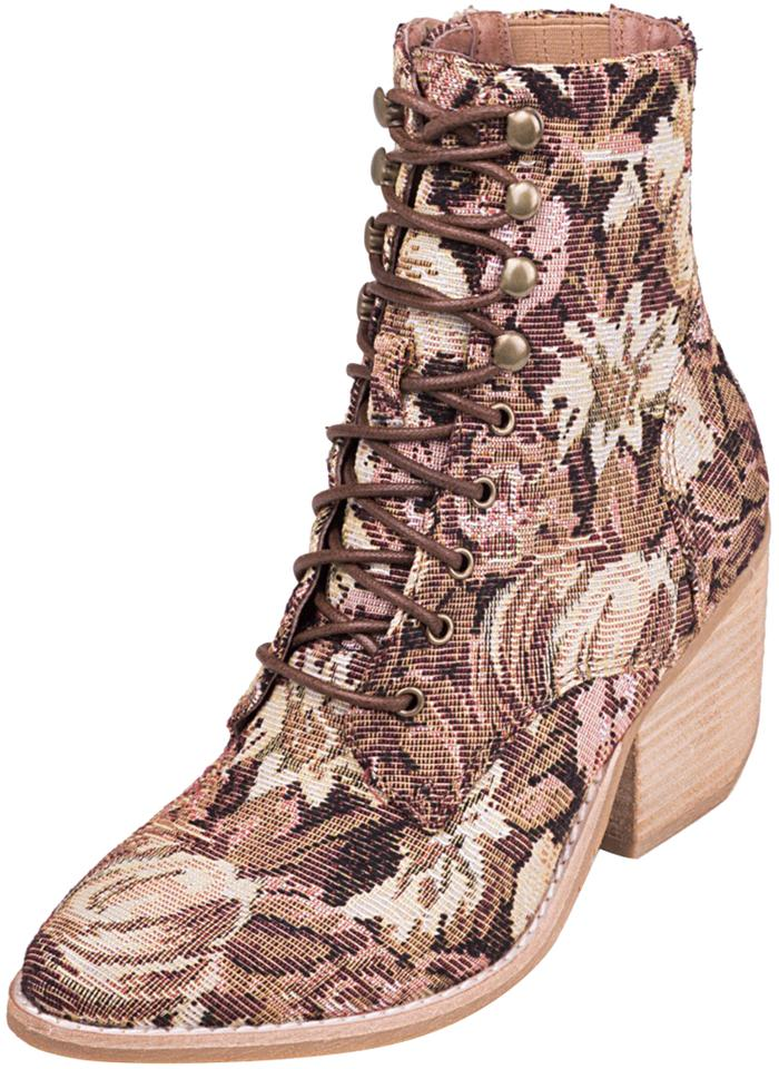 bd072a8729e8 Jeffrey Campbell Pink Multi Floral Elcrom Tapestry Lace Up Boots ...