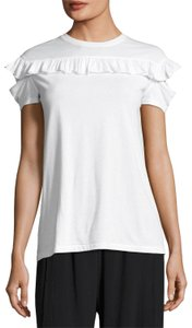 Helmut Lang Ruffled Cotton Xs T Shirt White