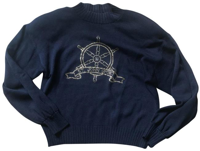 Preload https://img-static.tradesy.com/item/23132963/st-john-navy-and-gold-boating-crystal-sweaterpullover-size-8-m-0-1-650-650.jpg