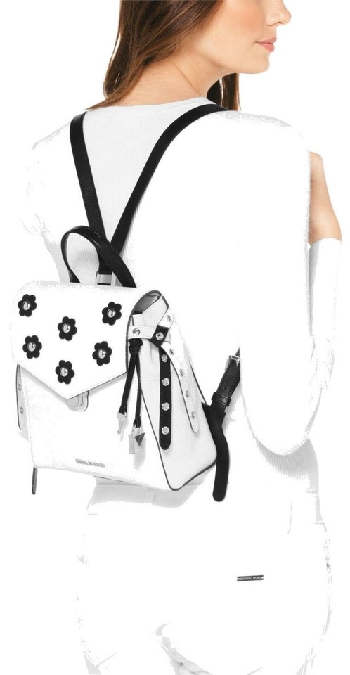 a18f0c27bd95 MICHAEL Michael Kors Bristol Small White Black Pebbled Leather Floral  Backpack Image 0 ...