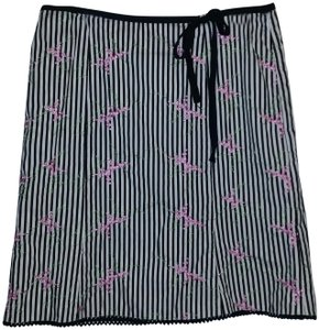 Autograph Skirt Black/White Stripe with Pink/Purple Embroidered Flower Design