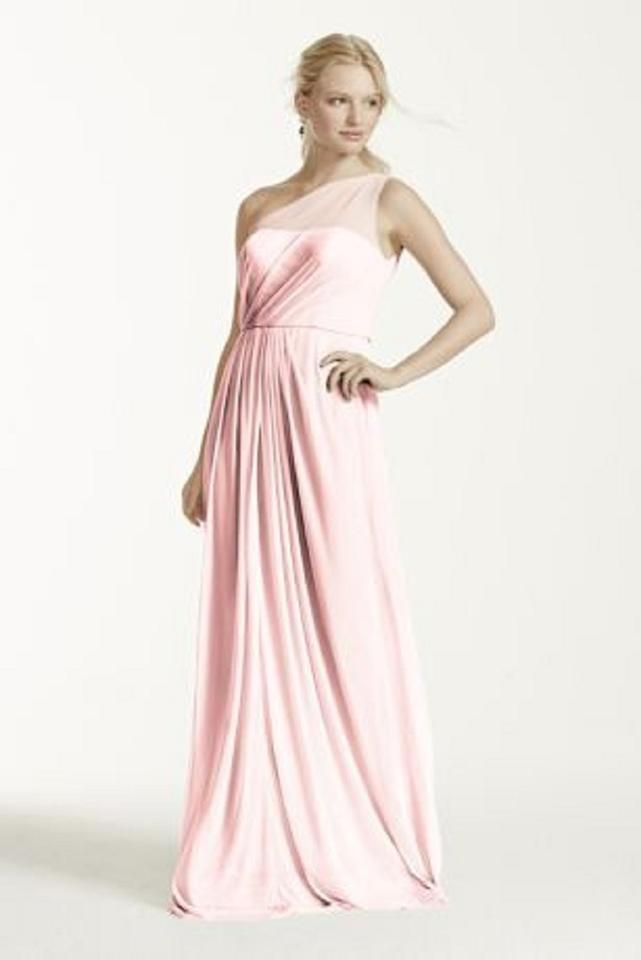 ba25fe37570 David s Bridal Petal Long with One Shoulder Neckline Formal Bridesmaid Mob  Dress