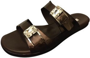 Casadei Jeweled Stunning Contoured Footbed Foot Support Made In Italy Brown Sandals