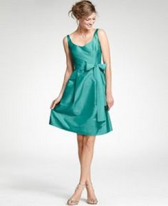 ffb5b1e4a1 Ann Taylor Mermaid Teal Silk Taffeta V-neck Modern Bridesmaid Mob Dress  Size 2