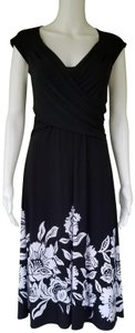 White House | Black Market short dress Black Slinky Floral Over Ruched on Tradesy