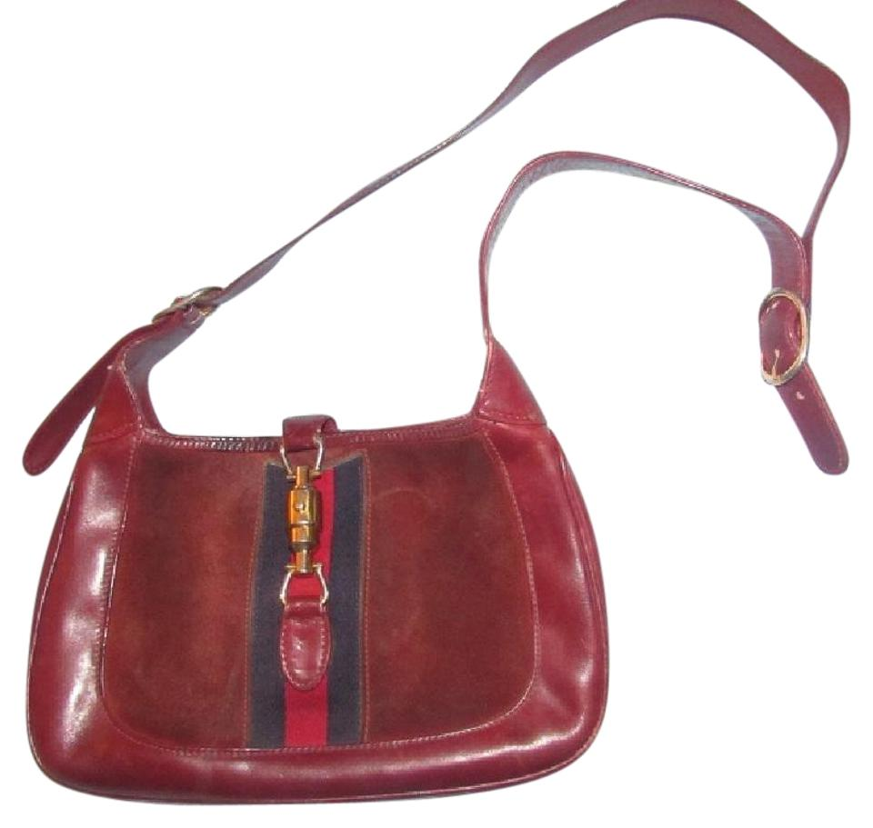 785941633b00c Gucci Jackie Vintage Purses/Gucci Purses Burgundy Leather and Suede with  Red and Blue Stripe and Extender Strap Hobo Bag