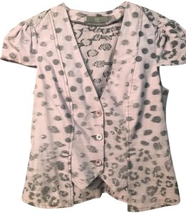 MCQ by Alexander McQueen Leopard Animal Print Spring Top Lavender