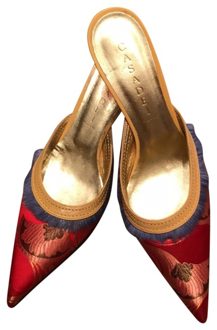 Item - Red with Blue Mink Trim 45611 Mules/Slides Size US 7.5 Narrow (Aa, N)