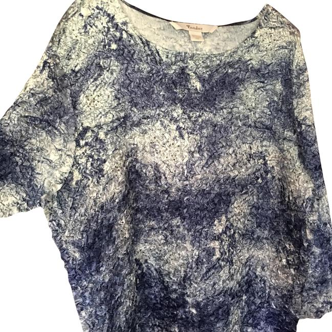 Item - Blue & White Crinkle with Stones Tunic Size 14 (L)