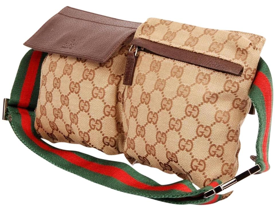 e7a961bfb991 Gucci Web Gg Belt Fanny Pack 866322 Beige Monogram Canvas Cross Body ...