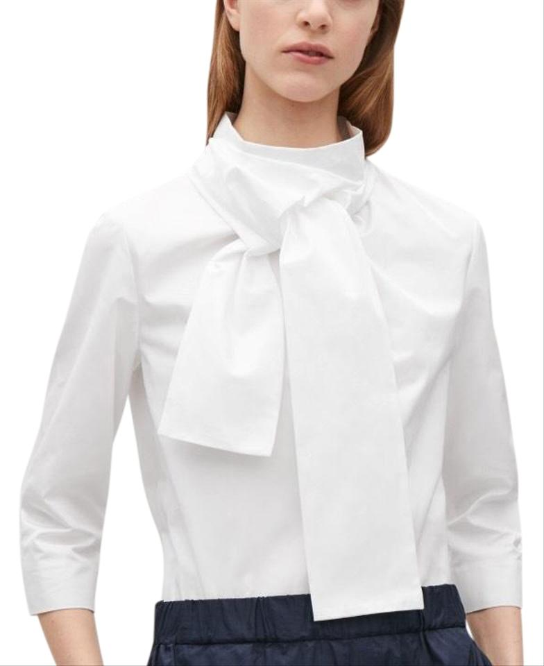 856ee33b592f9e COS White With Twisted Tie Detail Blouse Size 4 (S) - Tradesy