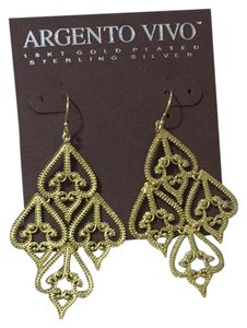 Argento Vivo Argento Vivo Sterling Silver/Gold Plated Drop Earrings