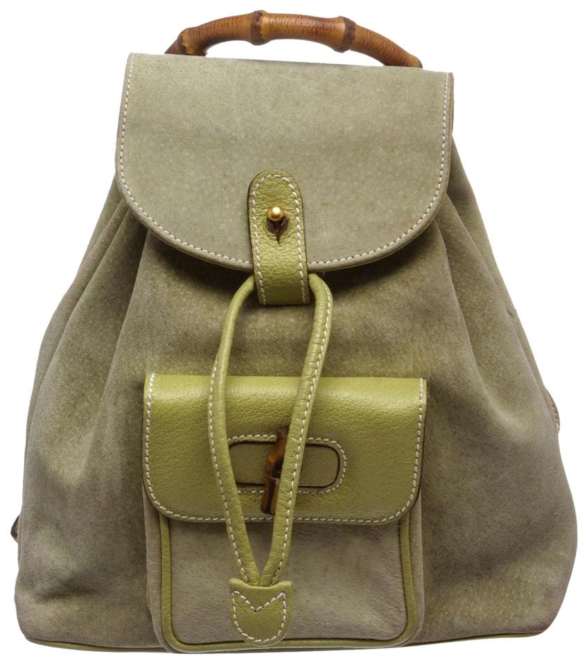 3a5a558fcba67a Gucci Drawstring Bamboo Mini Green Suede and Leather Backpack - Tradesy