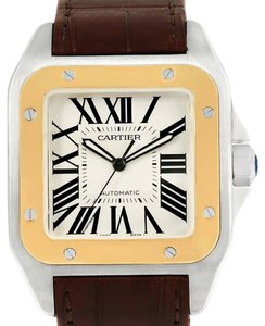 Cartier Cartier Santos 100 Steel Yellow Gold Mens Watch W20072X7 Box Papers