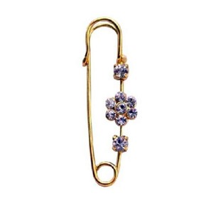 Fashion Jewelry For Everyone Collections Gold Metal Sparkle Like Diamond Cubic Zircon Flower Safety Pin