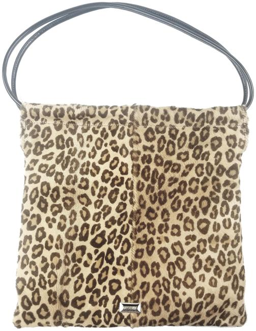 Item - Small Square Leopard Brown And Beige Calf Hair Shoulder Bag
