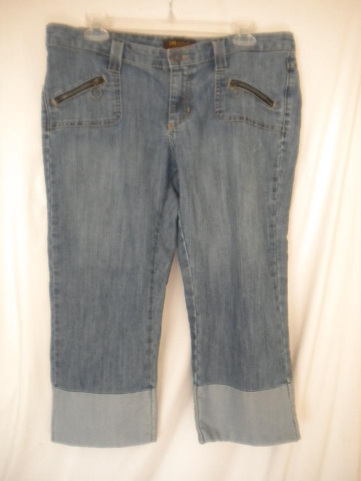 030e27b4 Lee Blue Medium Wash Women 12m Capri/Cropped Jeans Size 34 (12, L ...