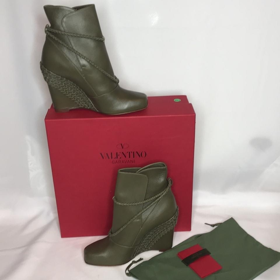 New Valentino Green Booties Army Boots qACx71A