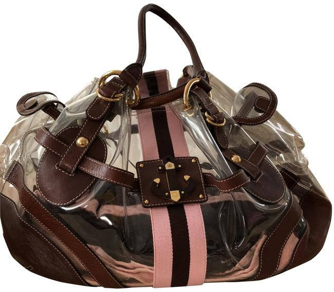 Item - Clear with Brown Leather Trim Beach Bag