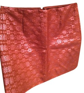 J.Crew Silk Sparkle Baroque Print Mini Skirt Orange