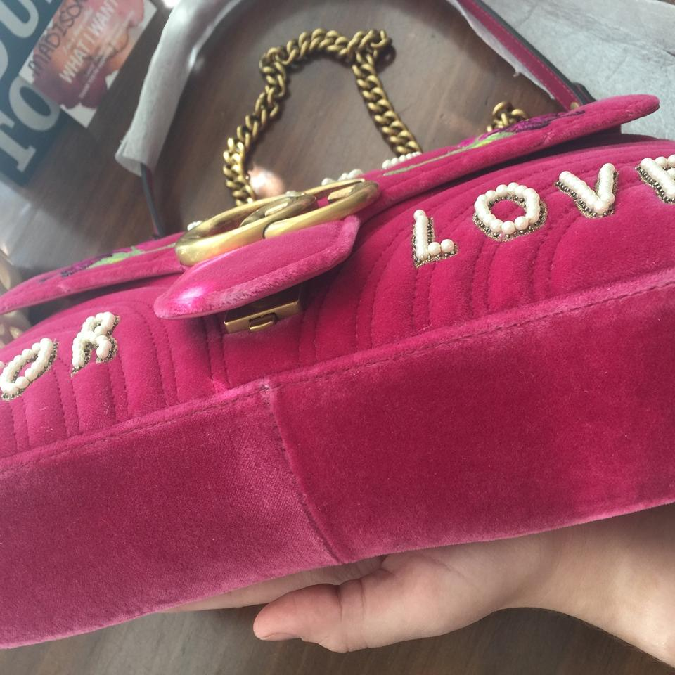 77196ac55278 Gucci Marmont Medium Blind For Love Raspberry Velvet Shoulder Bag ...