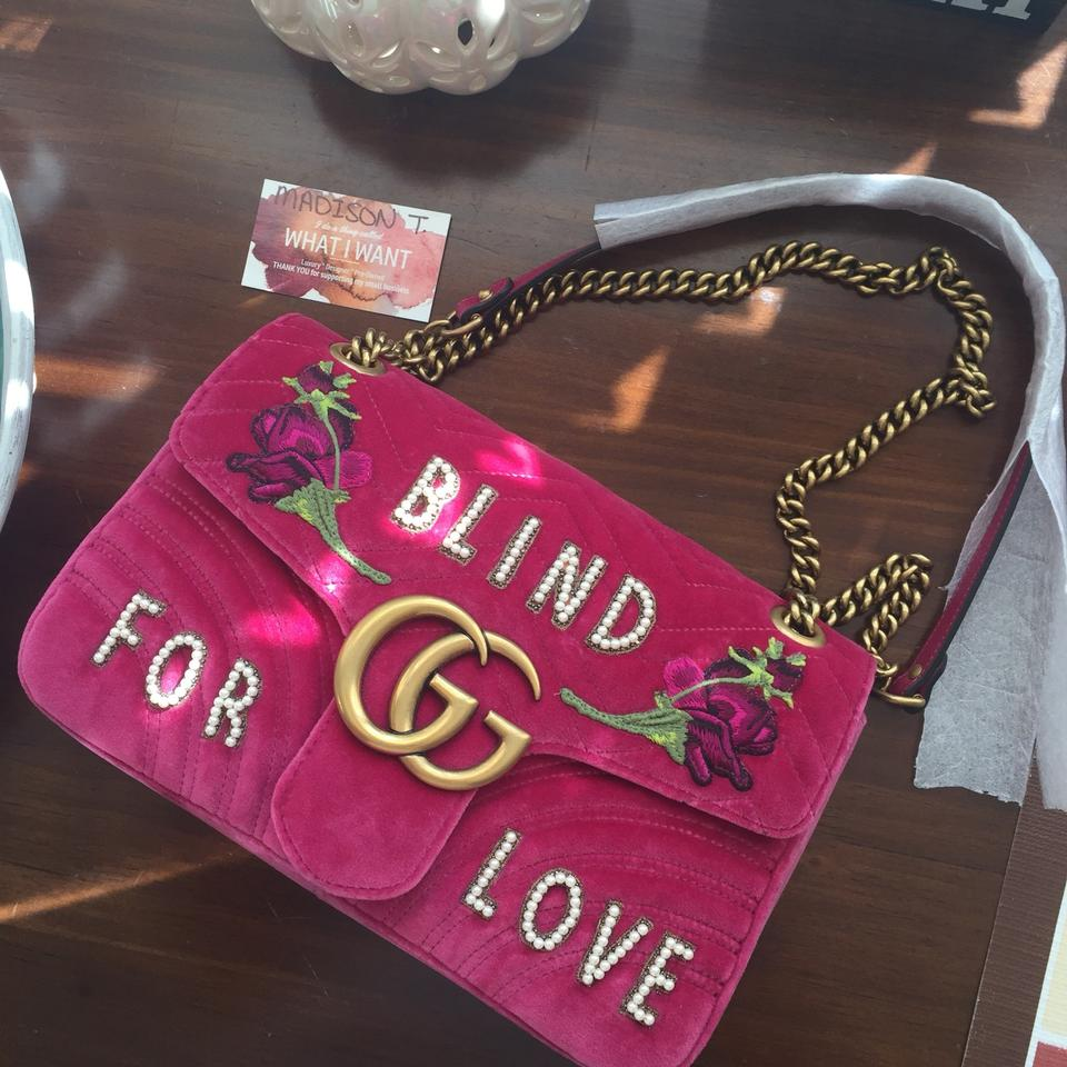 ce840bbbcc01 Gucci Marmont Medium Blind For Love Raspberry Velvet Shoulder Bag - Tradesy