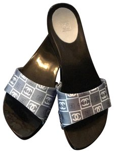 Chanel Flats Silver & Blue Mules