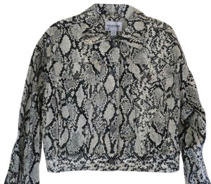 Emanuel Ungaro Cotton Button-down Snakeskin Unlined Seam-detail Black/White Jacket