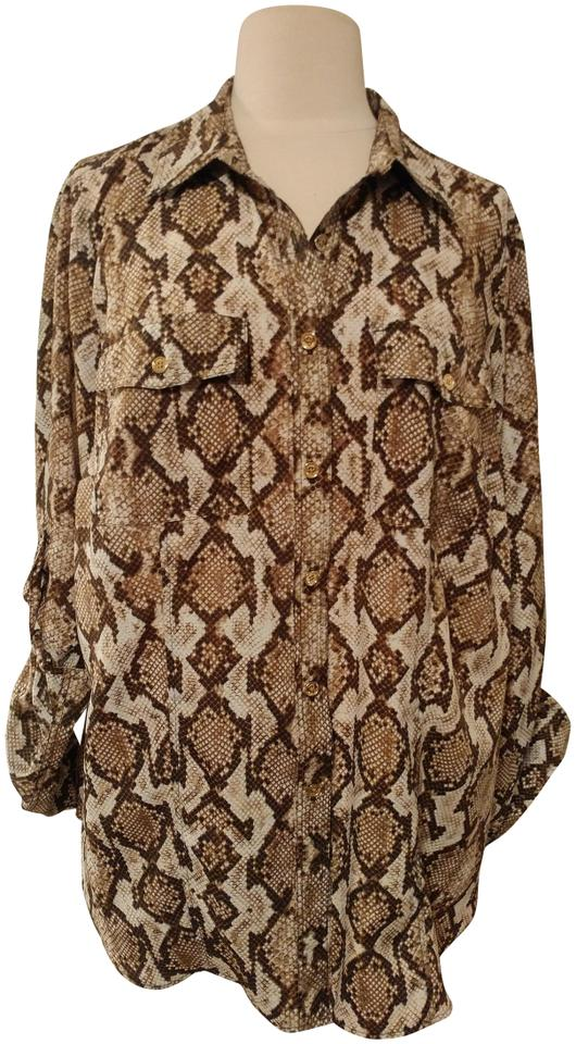 a13750bd4fe1 Michael Kors Snake Print Mk Plus Size Blouse Button Down Shirt brown/black/white  ...