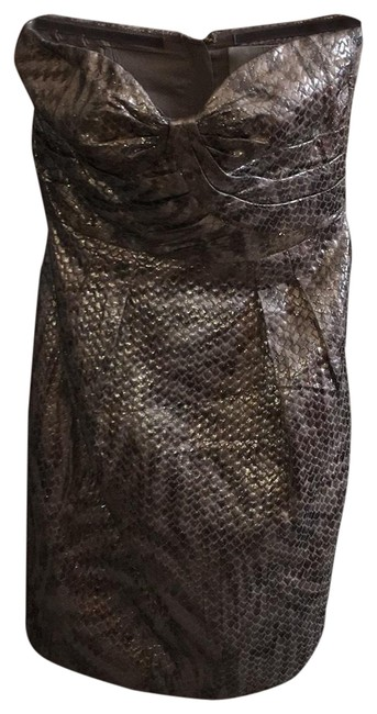 Item - Silver and Gold Metallic Snakeskin Look Short Cocktail Dress Size 2 (XS)